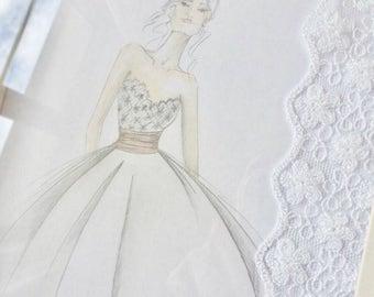 Custom made bridal fashion illustration
