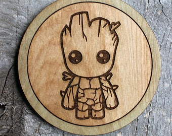 Baby Groot Wood Coaster | Rustic/Vintage | Hand Stained and Glued | Comic Book Gift | GOTG | Guardians of the Galaxy