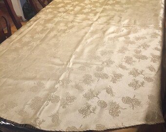 Vintage Rich Gold Oval Table Cloth With Pine Cone Like Designs