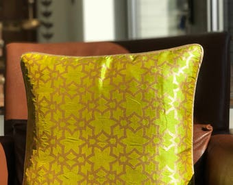 Moroccan Inspired Raw Silk Cushion Cover - Green