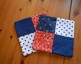 Pot Holders - Hot Pads - Red, White & Blue - Blue Dots - Red Dots -  4th of July - Patriotic - Kitchen Mats - Cooking