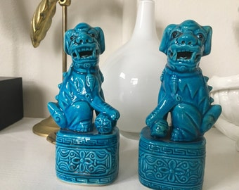 Vintage Turquoise Asian Foo Dogs Chinoiserie Foo Dogs Asian dogs lions Fu Dogs Turquoise Dogs Chinese