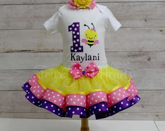 Bee Birthday Outfit, Girls Bee Outfit, Girls Bee Birthday Outfit, It's My Bee Day Outfit, Bumble Bee Birthday, Pink Bee, Girl First Birthday