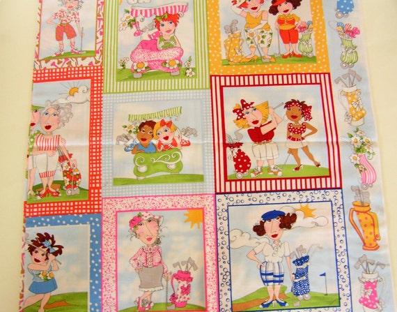 Fabric Book Covers Canada : You golf girl loralie harris designer cotton fabric panel