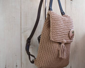 Ready! Beige knitted backpack with leather handles