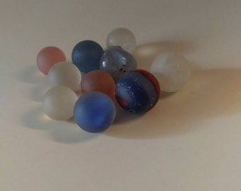 Beautiful Frosty  Lot of Sea Glass Marbles (3A)