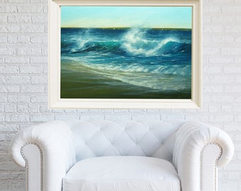 Large Ocean Painting, Seascape Painting, Art Print, Beach print painting, Maine art, Seascape Print, Giclee print, Wall art, Birthday Gift