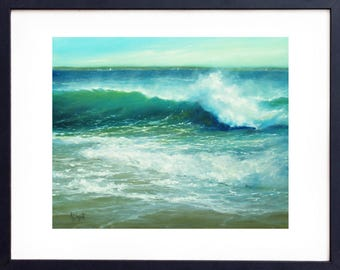 Oil painting, Art print, Father's Day, Oil painting seascape, Beach painting, Oil painting Landscape, Beach decor,  Wall decor