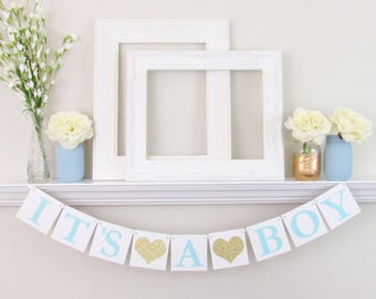 It's a Boy Banner - It's a Boy Sign - Boy Baby Shower Decorations - Blue and Gold Baby Shower Decor