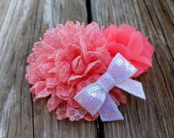 Girls Accessories, Peach/Salmon Flower. Flower Hairclip. Flower Girl, Baby Headband, Hair Accessories, Photo Prop, Girls Hairclip, Easter
