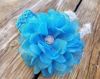 Singed Turquoise Flower, Hair Accessory, Girls Accessory, Flower Headband, Spring Flower, Flower Girl, Baby Headband, Crochet Lace Headband