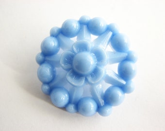 Light blue celluloid buttons, openwor button with shank from 1950s, 29 mm, unused!