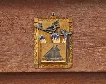 Antique Tinware Match Safe, Vintage Nautical Match Holder, Goldtone Tin Match Holder, Match Keeper, Sailing Ship Match Box