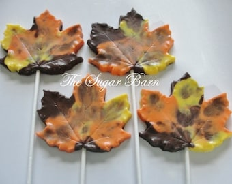 LEAF CHOCOLATE Lollipops*9 Ct*Edible Maple Leaves*Fall Harvest Party*Thanksgiving Favor*Hostess Gift*Centerpiece*Fall Favor*Chocolate Leaves