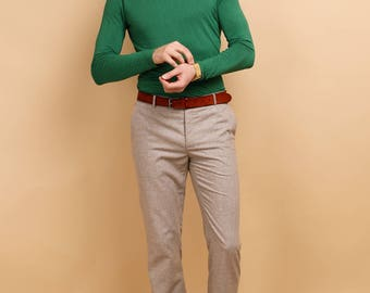 Mens beige wool PANTS | mens beige trousers | mens dress pants | mens tailored  pants