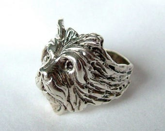 Sterling Silver Terrier Dog Head Ring, Silver Dog Head Ring, Sterling Dog Head Ring, Dog Ring, Silver Cairn Terrier Ring, Silver Dog