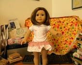 """Doll (18"""") dress drop-waist pink on white with pink lace"""