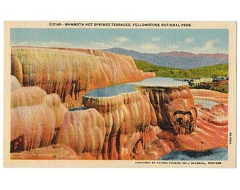 Yellowstone National Park Wyoming vintage linen postcard   Mammoth Hot Springs, Terrace Mountain   1930s WY travel souvenir, western decor