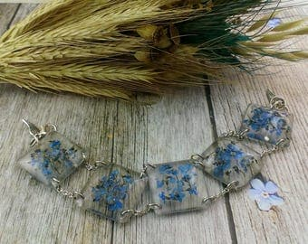 Blue wedding jewelry Gift for girl Something blue bracelet Nature wedding Gift for girlfriend Nature jewelry Forget me not Blue jewelry