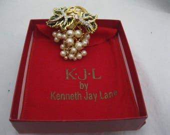 Kenneth Jay Lane KJL Chardonnay Grape Pin Brooch