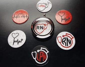 Nurse Window Plate for Floating Lockets-RN, LPN, Heartbeat, Stethoscope Designs-Fits All Brands of Lockets (30mm)-Great Gift Idea