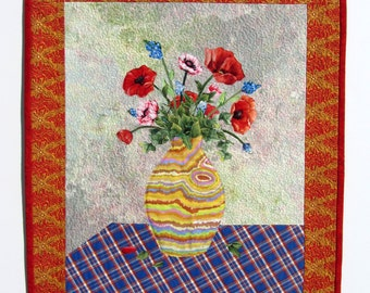"Mother's Day Quilt ""Vase of Flowers"", Wall Hanging Poppies, Art Quilt, Textile Wall Art, Fabric Collage Flowers, Fiber Art Small Quilt Poppy"