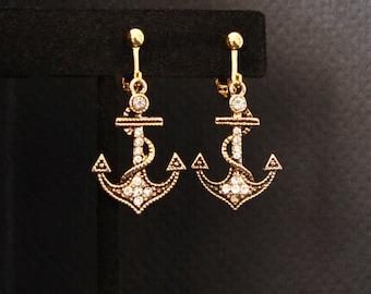Anchor Earrings, Pierced or Clip, Rhinestone Accented Earring, Gold Drop Earrings, Small Dangle Anchor Earring