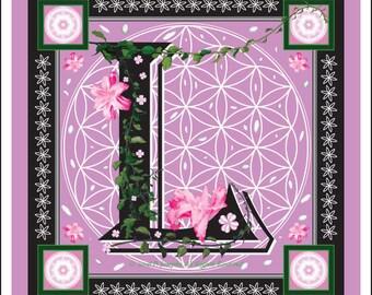 "Sacred Geometry Illustrated Letter Art Print ""L"""