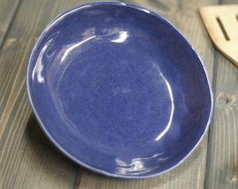 Handmade Bowl, nice blue glaze with black specks, serving dish, Salad , Soup, Pasta