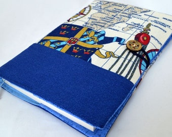 Marine book cover Seaside book cover Nautical book cover Fabric book cover A5 Notebook cover Bible cover Paperback cover Book protector