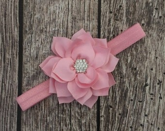 Pink headband, pink flower headband, flower girl headband, baby bow, infant headband, baby girl headband, headband,