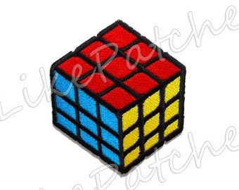 Colorful Cubic Design New Sew / Iron on Patch Embroidered Applique Size 6.5cm.x7.5cm.