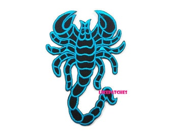Blue Scorpion New Sew / Iron On Patch Embroidered Applique Patches Size 6.5x9.3cm.
