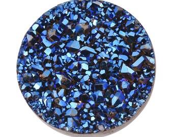 Blue Drusy Quartz Round Cabochon Loose Gemstone 1A Quality 12mm TGW 2.75 cts.