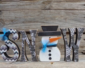 Winter Decor -  Snow Decor - Snowman Decor - Snowman - Chunky snow letters with snowman