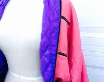 Pink Bomber, vintage bomber, womens bomber jacket, 1980s jacket, hot pink jacket,