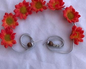 Flower headband, coachella crown, festival crown, floral head piece, 4TH of July headband
