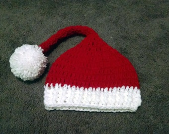 Crochet Red and White Long Santa Christmas Holiday Hat - All Sizes!