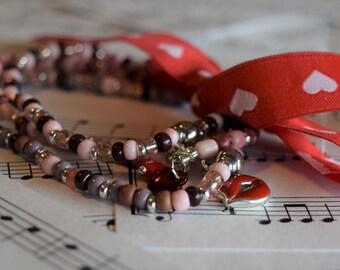 Elastic Pink Variation (3) Romantic Bracelets V03