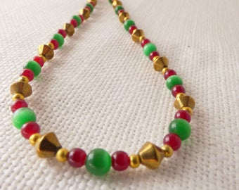 Green Cats Eye, Red and Gold Necklace