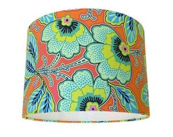 Amy Butler Lark Floral Couture Mandarin Orange & Blue Drum Lampshade