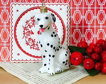 Vintage 1980s Hand Painted Glass Christmas Ornament Dalmatian Dog