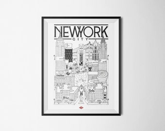 New York - series illustration * Travel With Me * | Black and white | 21 x 29.7 cm