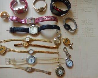 17 Piece Wrist Watch Pendant Lot Junk Jewelry Parts