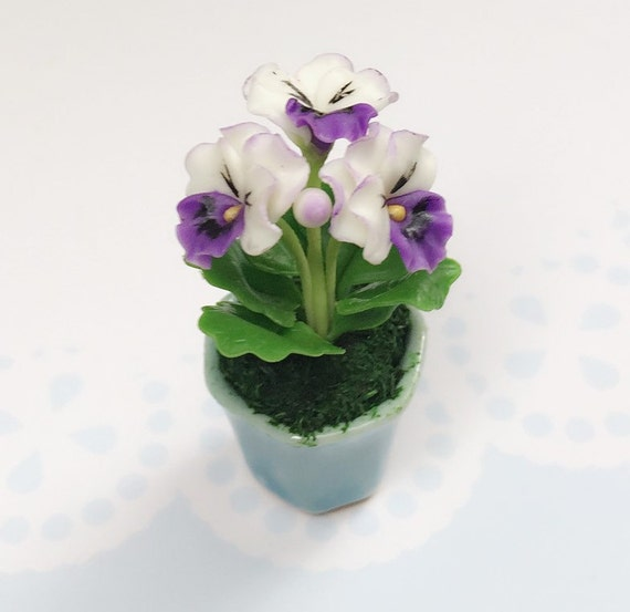 Miniature Flower,Miniature Flower Pot,Miniature Vase,Dollhouse Flower,Miniature Garden,Dollhouse Flower Pot,Miniature Purple Pansy Flower