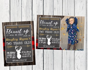 Flannel Up Any Age Personalized birthday  invitation- ***Digital File*** (Flannel-Cold)