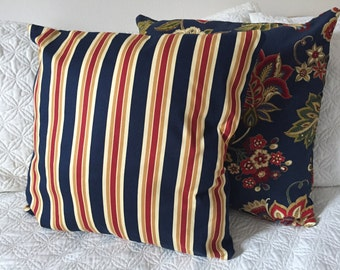 DECORATIVE PILLOW-Navy Floral and Striped Pattern with Zipper Enclosure