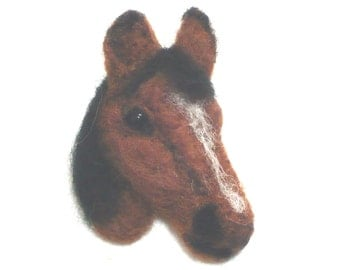Brown Horse Brooch Complete Needle Felting Kit for beginners and improvers