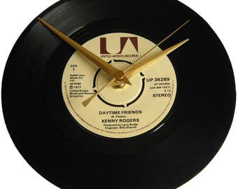 Kenny Rogers Vinyl Record Clock Daytime Friends wall decor gift for country music fan 60th 65th 70th birthday present grandad grandma mother