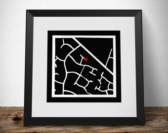 Personalised Street Map - Made To Order - paper cut out, wall art, paper cut, papercutting, paper cutting, papercut art, paper cut art
